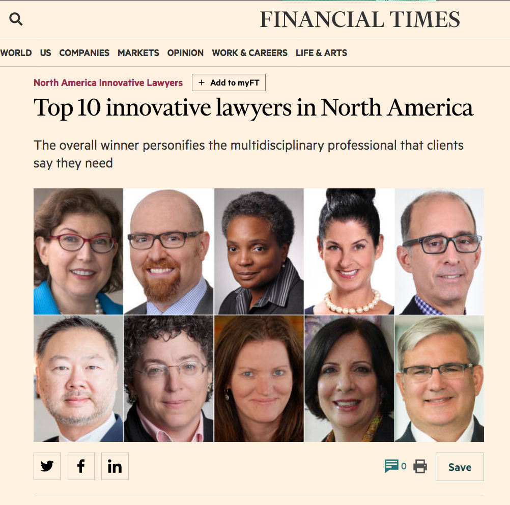 Top 10 Innovative Lawyers Financial Times